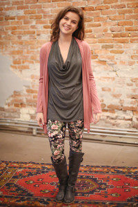 Simply Basics Dusty Rose Long Sleeve Open Front Cardigan full body front view.