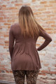 Simply Basics Chocolate Long Sleeve  Ruffle Tunic back view.