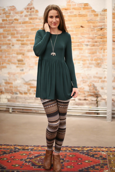 Simply Basics Dark Green Long Sleeve Ruffle Tunic full body front view.