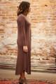 Simply Basics Chocolate Long Sleeve Midi Dress side view.