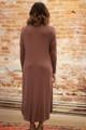 Simply Basics Chocolate Long Sleeve Midi Dress back view.