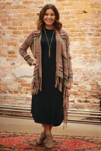 Simply Basics Dark Green Long Sleeve Midi Dress with Pockets full body front view.