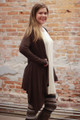 Simply Basics Dark Brown Handkerchief Cardigan with Hood side view.