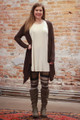 Simply Basics Dark Brown Handkerchief Cardigan with Hood full body front view.