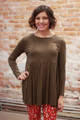 Simply Basics Olive Long Sleeve Ruffle Tunic front view.
