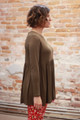 Simply Basics Olive Long Sleeve Ruffle Tunic side view.