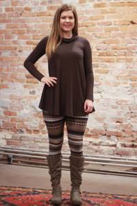Simply Basics Dark Brown Long Sleeve Tunic with Cowl full body front view.