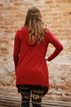 Simply Basics Burgundy Handkerchief Cardigan with Hood back view.