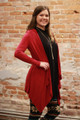 Simply Basics Burgundy Handkerchief Cardigan with Hood side view.