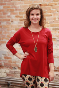 Simply Basics Burgundy Slouchy 3/4 Sleeve Top  front view.