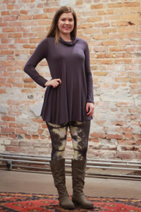Simply Basics Dark Gray Long Sleeve Tunic with Cowl full body front view.