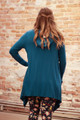 Simply Basics Teal Handkerchief Cardigan with Hood back view.