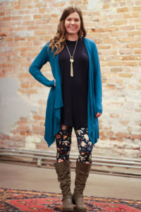Simply Basics Teal Handkerchief Cardigan with Hood full body front view.