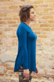 Simply Basics Teal Long Sleeve Top side view.