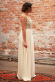 Athena's Blessing Cream Maxi Dress with Sequin Bodice side view.