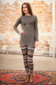 Simply Basics Charcoal Asymmetrical Long Sleeve Tunic full body front view.