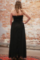 Effortlessly Embellished Black Maxi Dress with Beading back view.
