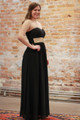 Effortlessly Embellished Black Maxi Dress with Beading side view.