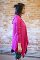 Simply Basics Magenta Handkerchief Cardigan with Hood side view.