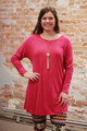 Simply Basics Magenta Long Sleeve Tunic Dress front view.
