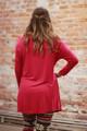 Simply Basics Magenta Long Sleeve Tunic Dress back view.