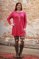 Simply Basics Magenta Long Sleeve Tunic Dress full body front view.