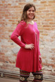 Simply Basics Magenta Long Sleeve Tunic Dress side view.