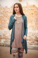 Simply Basics Teal Agua Handkerchief Cardigan with Hood front view.