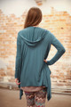 Simply Basics Teal Agua Handkerchief Cardigan with Hood back view.