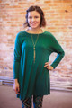 Simply Basics Dark Green Long Sleeve Tunic Dress front view.