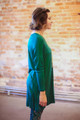 Simply Basics Dark Green Long Sleeve Tunic Dress side view.