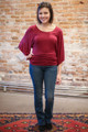 Simply Basics Wine Ruched Tunic full body front view.