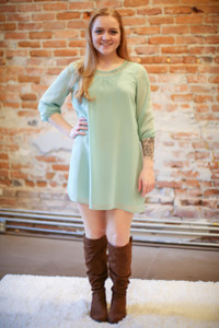 Siren's Song Sage Long Sleeve Shift Dress full body front view.