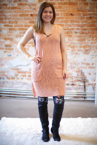 Long and Luscious Chedron Knit Sweater Vest with Pockets full body front view.