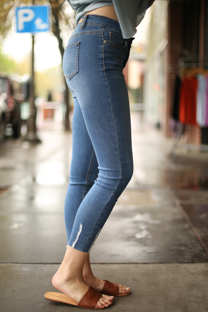 Jean for Joy Light Cropped Skinny Jeans side view.