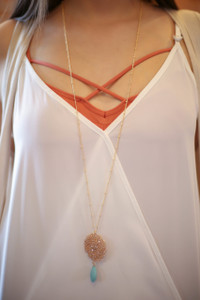 Gold and Peach Faceted Oval Bead Cluster Pendant Necklace