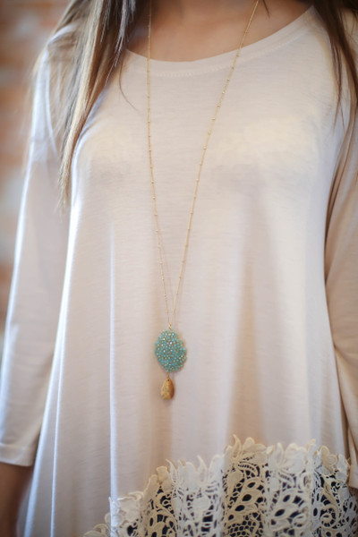 Gold and Turquoise Faceted Oval Bead Cluster Pendant Necklace