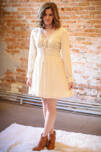 Lots of Lace Long Sleeve Beige Peasant Dress