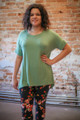 Simply Basics Sage Short Sleeve Tunic front view.
