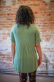 Simply Basics Sage Short Sleeve Tunic back view.