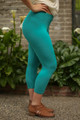 Jade Butter Soft Cropped Leggings side view.