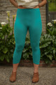 Jade Butter Soft Cropped Leggings front view.