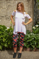 Vibrant Roses Floral Printed Butter Soft Cropped Leggings full body front view.