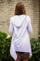 Simply Basics White Handkerchief Cardigan with Hood back view.