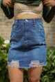 Denim Dreams Distressed Denim Pencil Skirt front view.