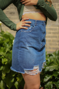 Denim Dreams Distressed Denim Pencil Skirt side view.