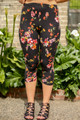 Flowered Vines Floral Printed Butter Soft Cropped Leggings front view.