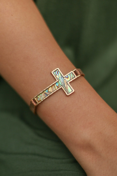 Abalone and Gold Cross Faux Leather Bracelet