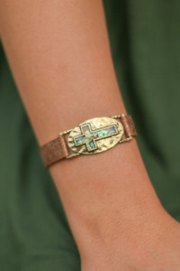 Abalone and Gold Cross Plaque Faux Leather Bracelet