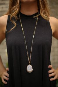 Natural Faceted Bead Wrapped Stone Pendant Necklace